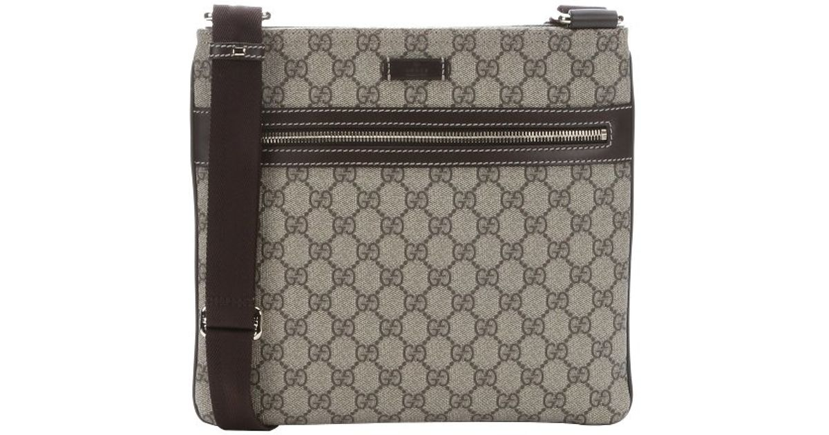 d3822e426b6 Gucci Beige And Ebony Gg Supreme Canvas Flat Messenger Bag in Natural for  Men - Lyst