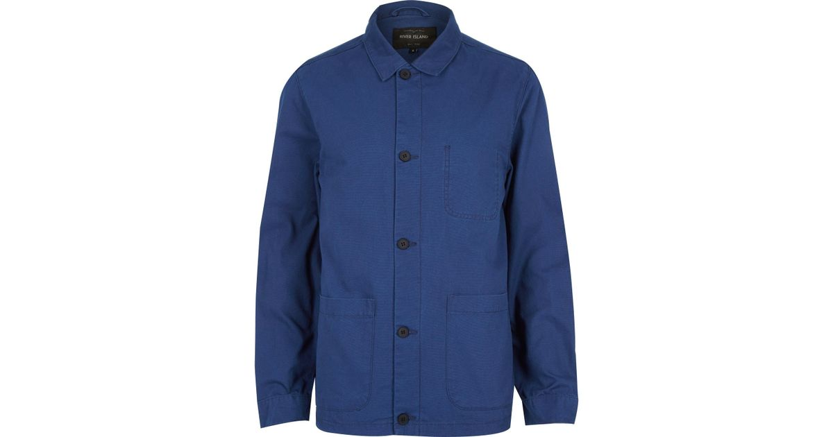 River island blue utility worker jacket in blue for men lyst for Bear river workwear shirts