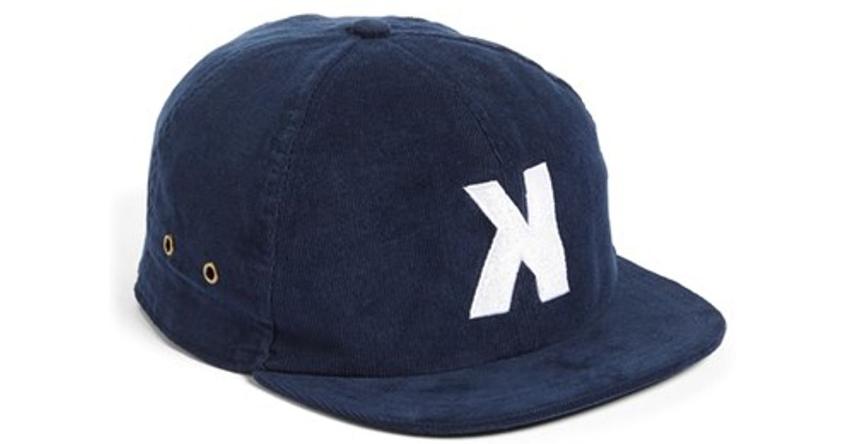 Lyst Kinfolk Utica Short Brim Corduroy Hat In Blue For Men