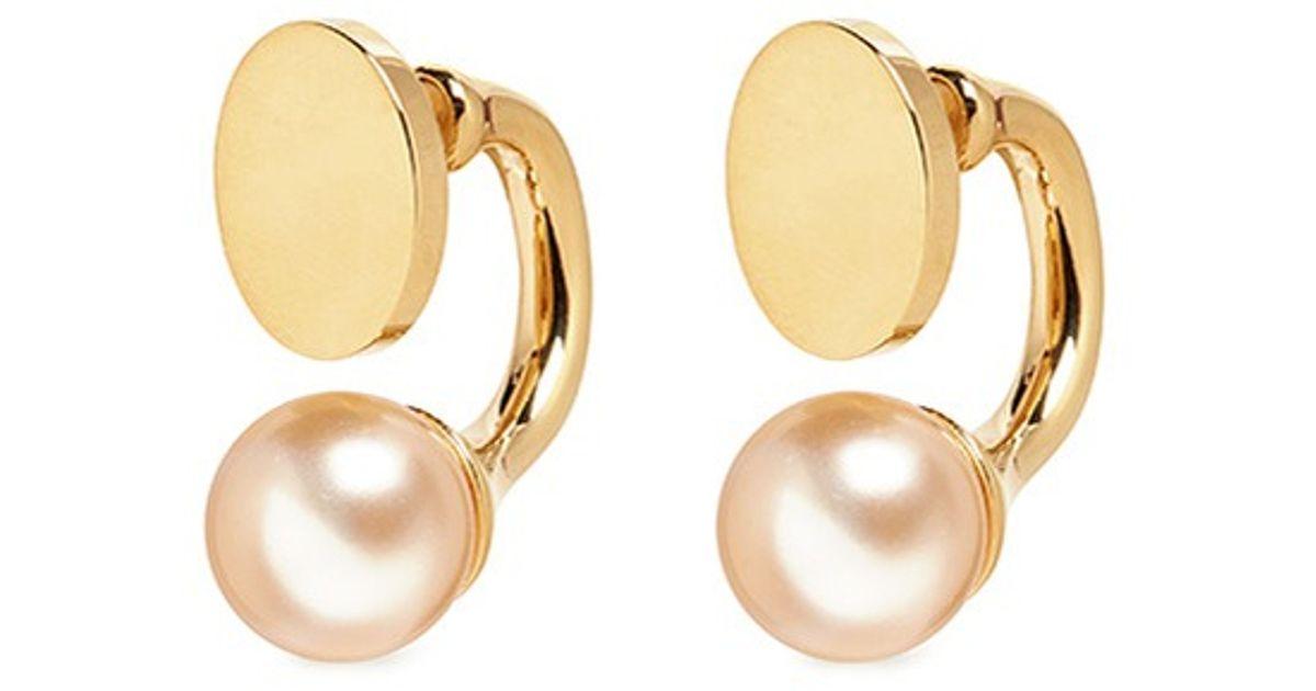 Chloé 'darcey' Swarovski Pearl Flat Stud Earrings in Gold ...