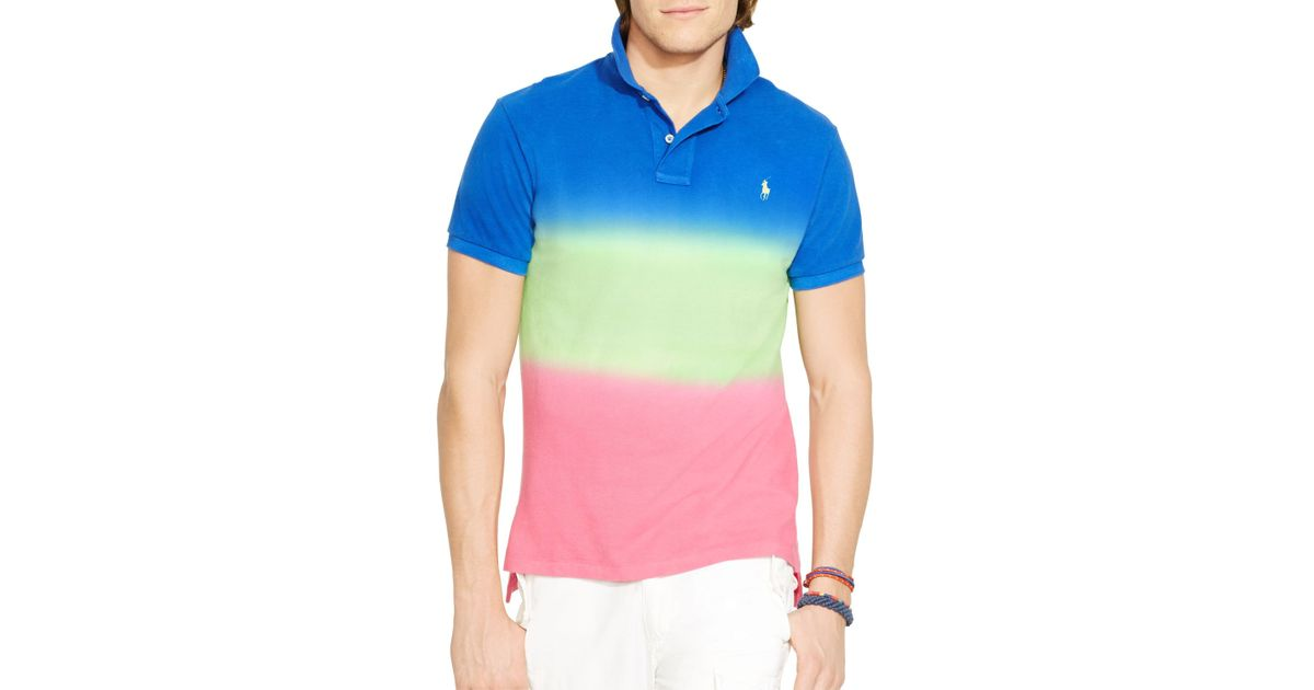 For Men Dip Fit Ralph Polo Dyed Lauren Multicolor Shirt Custom Slim DH29EeWYIb