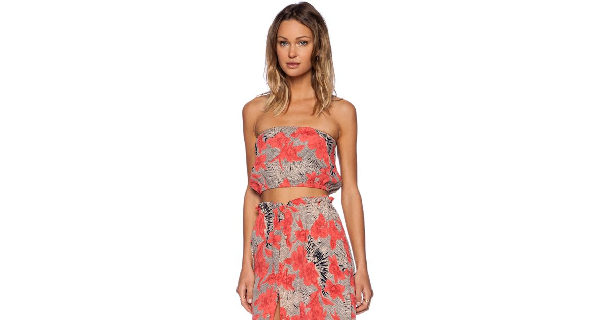 a13ddd6122d3 Lyst - For Love   Lemons Mai Tai Bandeau Crop Top in Red