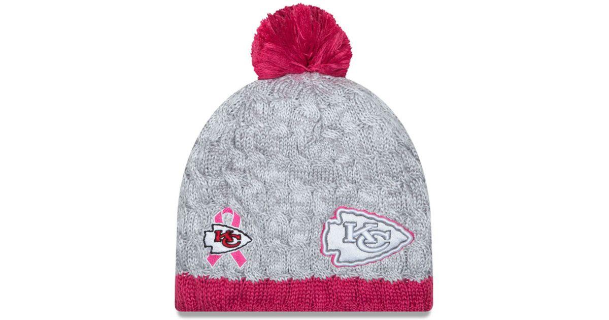 4f59f32b KTZ Gray Women's Kansas City Chiefs Breast Cancer Awareness Knit Hat