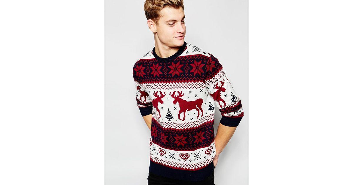 Jack /& Jones Originals Medium Christmas Jumper Reindeer Graphic Sweat Red Crew