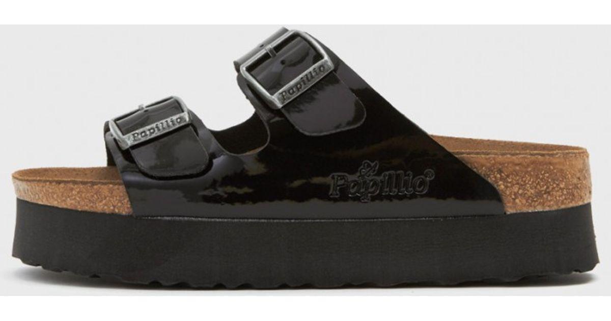 d5fee2ed8b05 Birkenstock Patent Arizona Platform Sandals in Black - Lyst