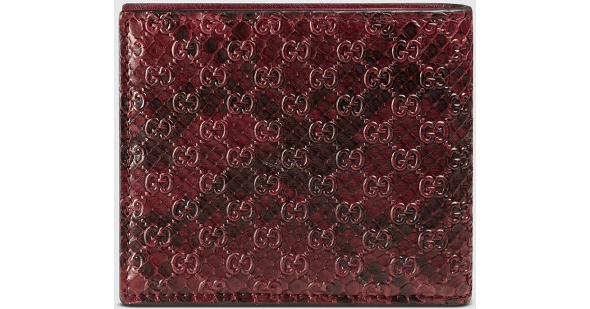 c302d27797fc Gucci Python Bi-fold Wallet in Red for Men - Lyst