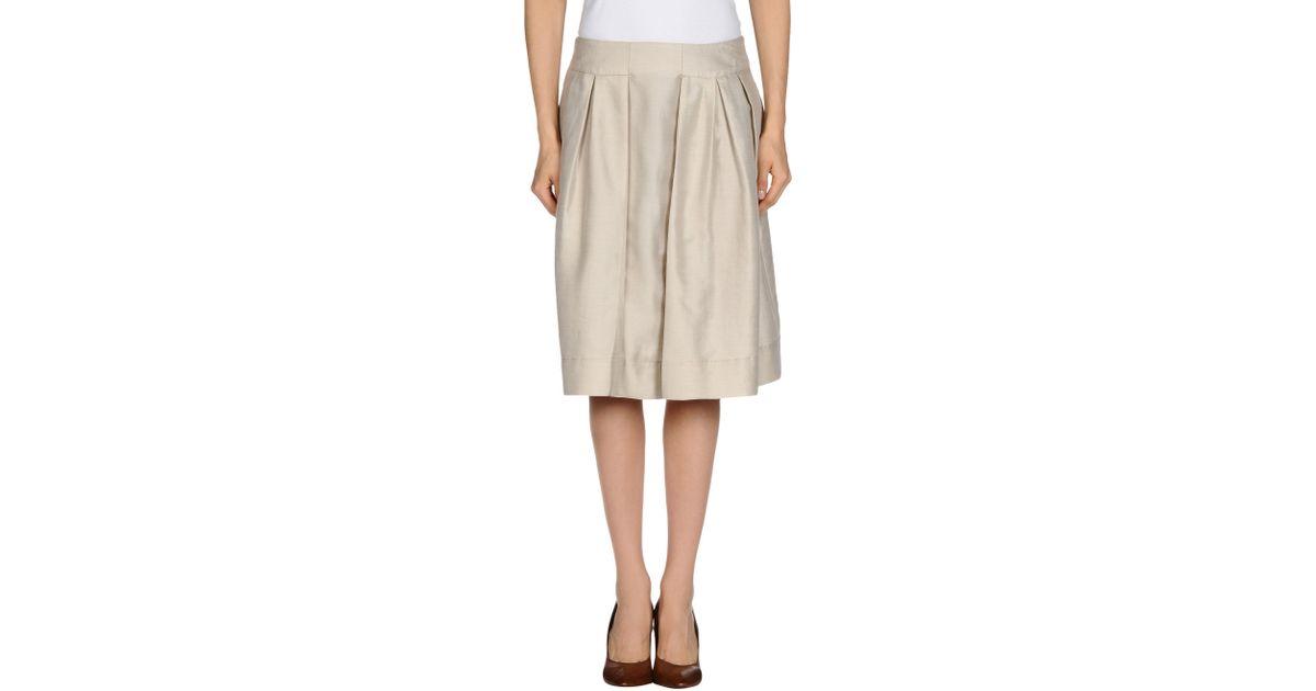 aspesi knee length skirt in beige lyst