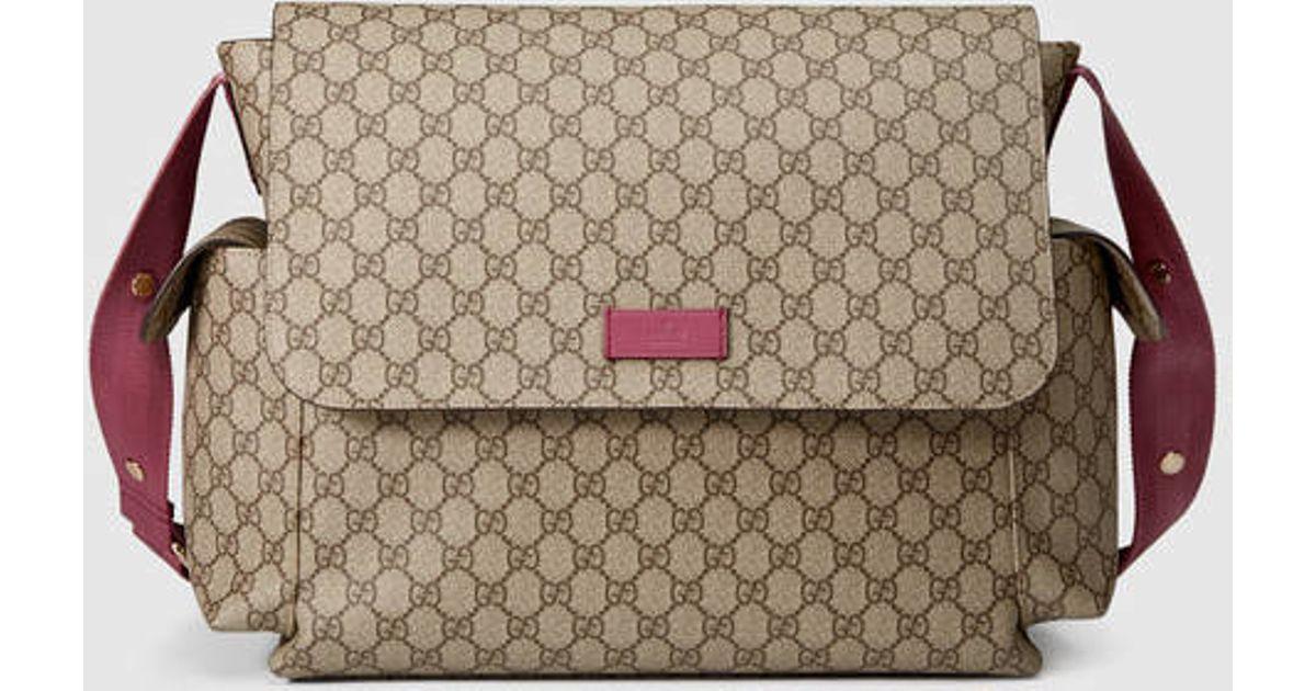 d8c75f3b39dd54 Lyst - Gucci Gg Supreme Diaper Bag in Pink