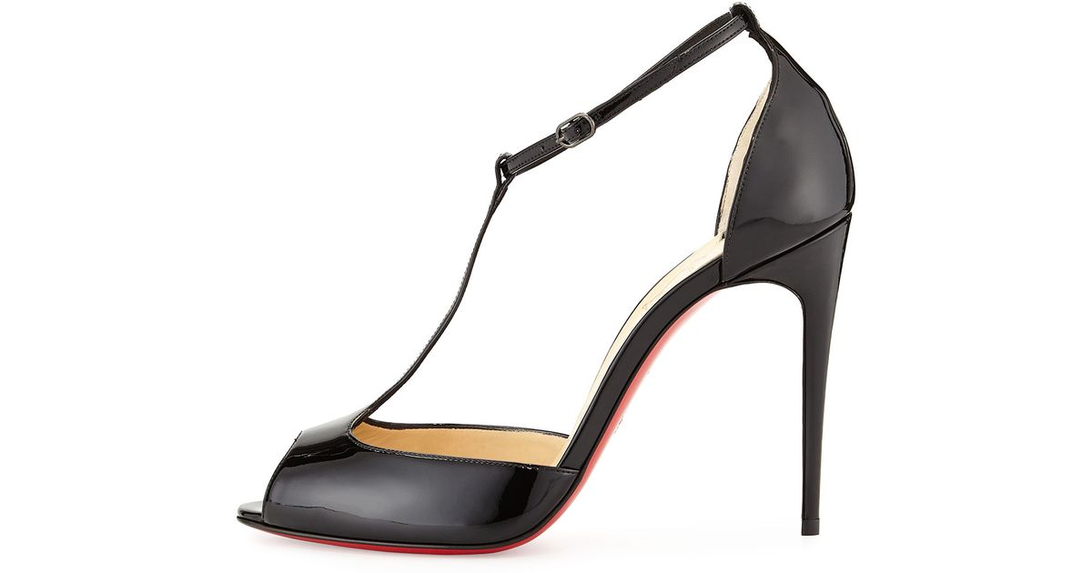 mens replica shoes - Christian louboutin Senora Patent T-strap Red Sole Sandal in Black ...