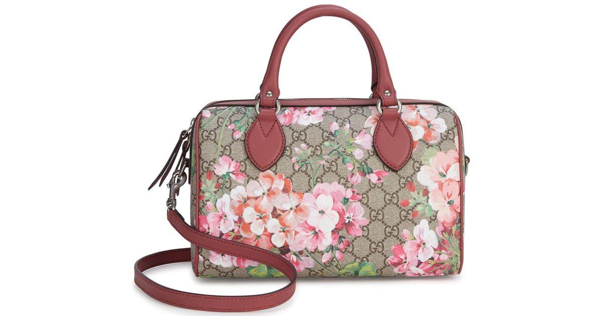 ffaef98760f2 Gucci Linea A Boston Small Floral Shoulder Bag in Pink - Lyst