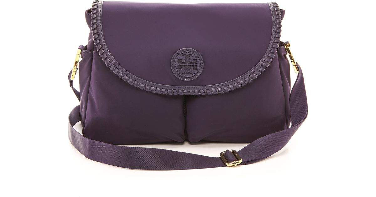 Tory Burch Marion Nylon Baby Bag Blue Ink In Purple Lyst