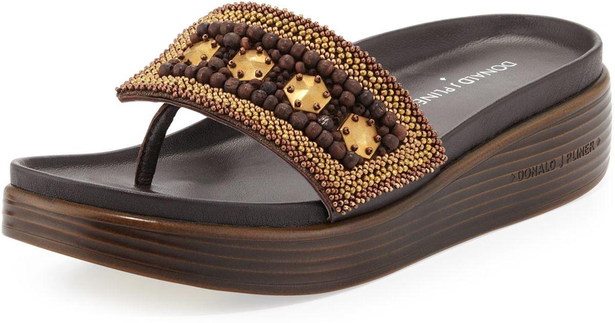 2c8a8e499d Donald J Pliner Fifi Beaded Platform Sandal in Metallic - Lyst