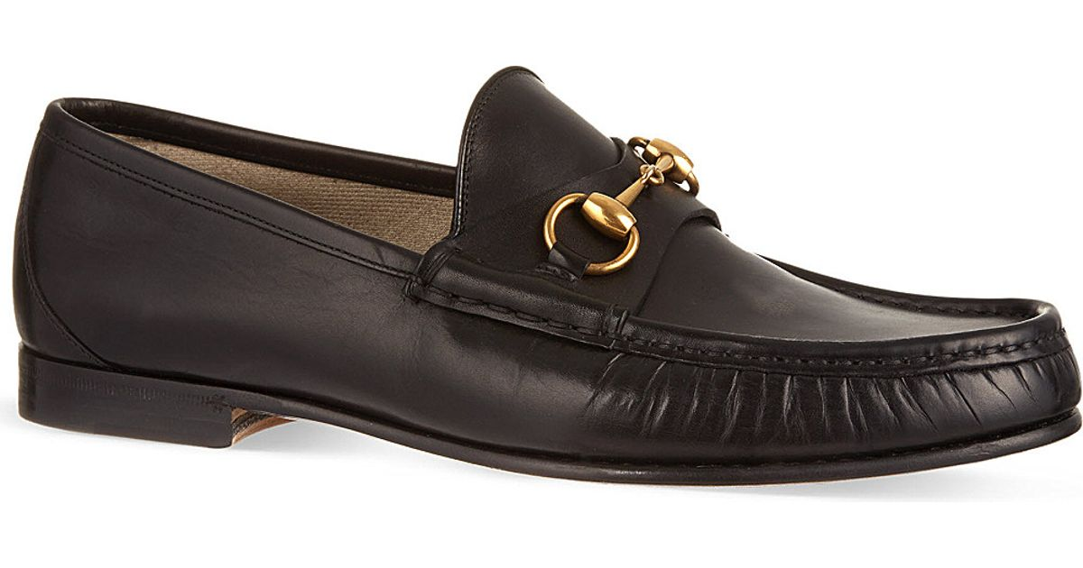 d7c2c3fd2d8 Gucci Roos Horsebit Leather Loafers in Black for Men - Lyst