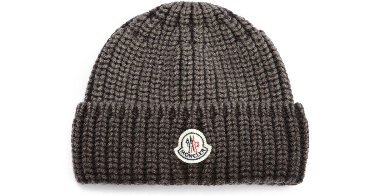 fba3d295cf0 Lyst - Moncler Wool Hat in Gray for Men