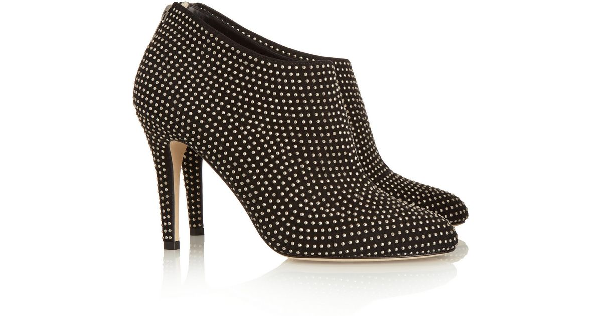 02f5cc2549f Lyst - Jimmy Choo Mendez Studded Suede Ankle Boots in Metallic