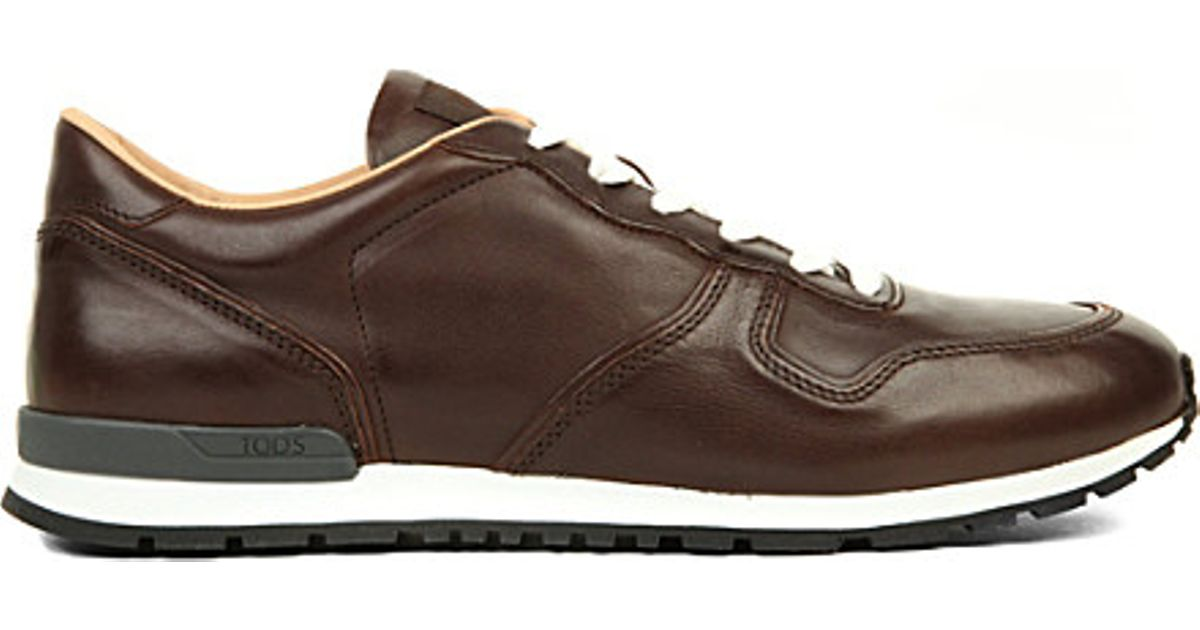 Leather Trainers in Dark Brown