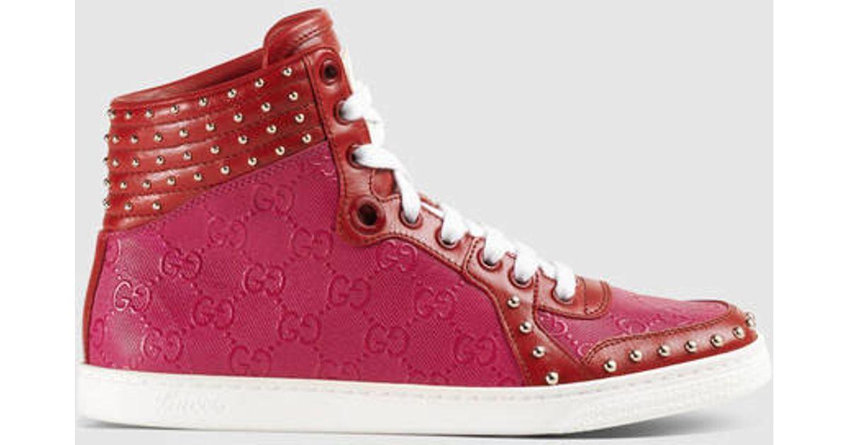 ca87d6c2419 Lyst - Gucci Studded High-top Sneaker in Purple