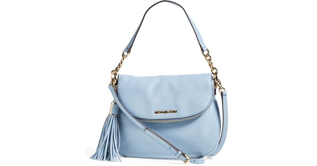 Lyst Michael Kors Bedford Tassel Medium Convertible Leather Shoulder Bag In Blue