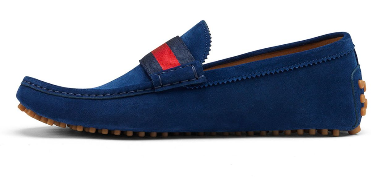 ba98f4d1bb484 Gucci Suede Nylon-web Driver in Blue for Men - Lyst