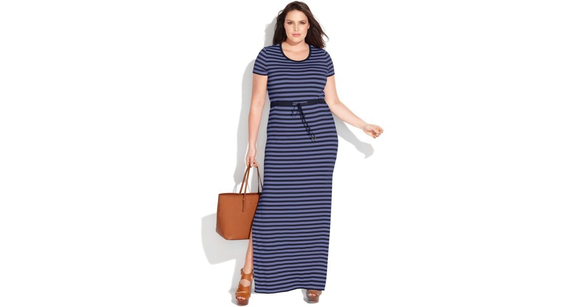 24cac0159552c Lyst - Michael Kors Plus Size Short Sleeve Striped Maxi Dress in Blue