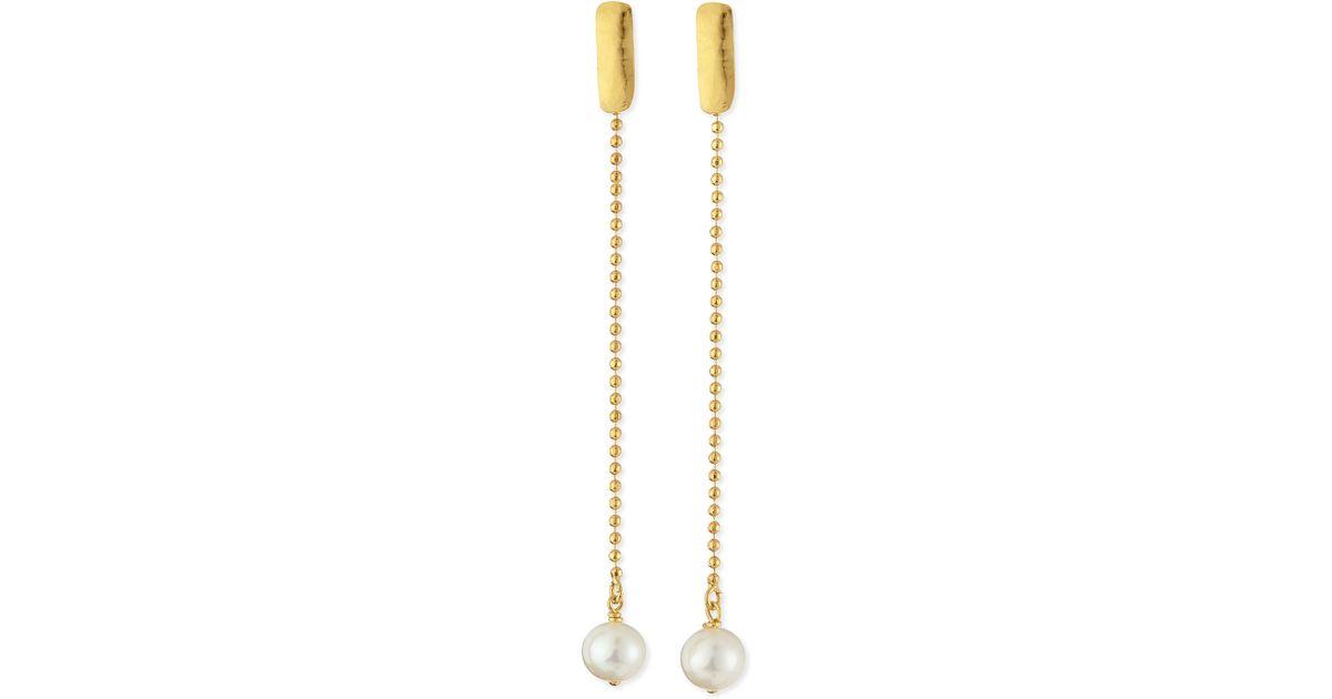 Lyst Herve Van Der Straeten 24k Gold Plated Yucata Single Pearl Drop Earrings In Metallic