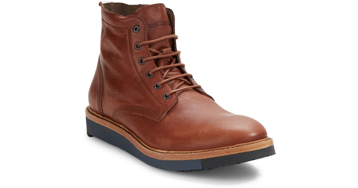 diesel jarghe leather high top boots in brown for