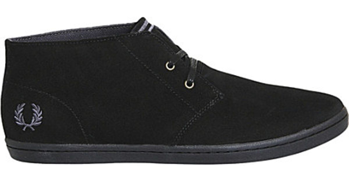 fred perry black suede shoes online