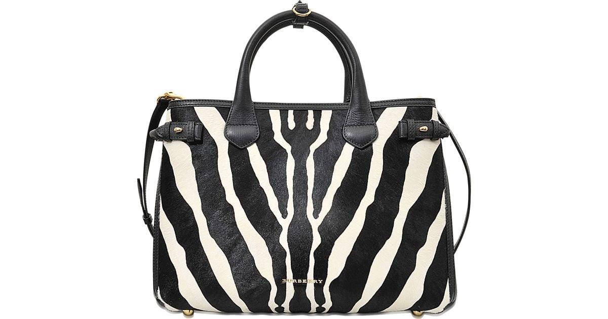 Burberry Black Md Banner Zebra Printed Bag