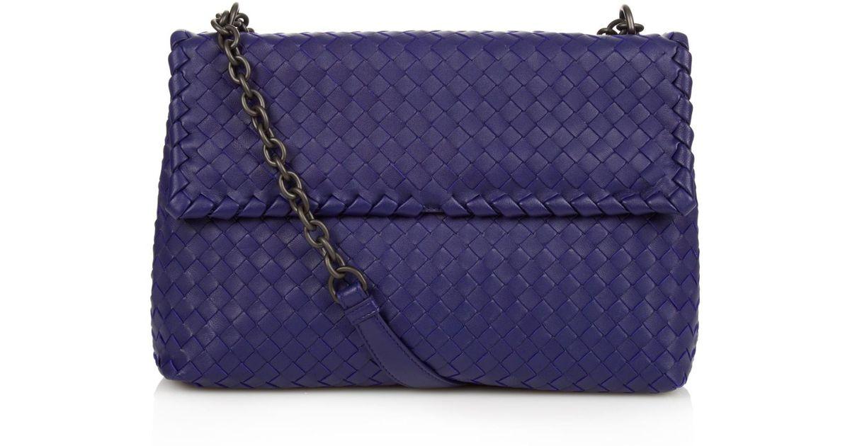 017227ea9c2e bottega venetta sale - Bottega veneta Olimpia Intrecciato Leather Shoulder  Bag in Blue .