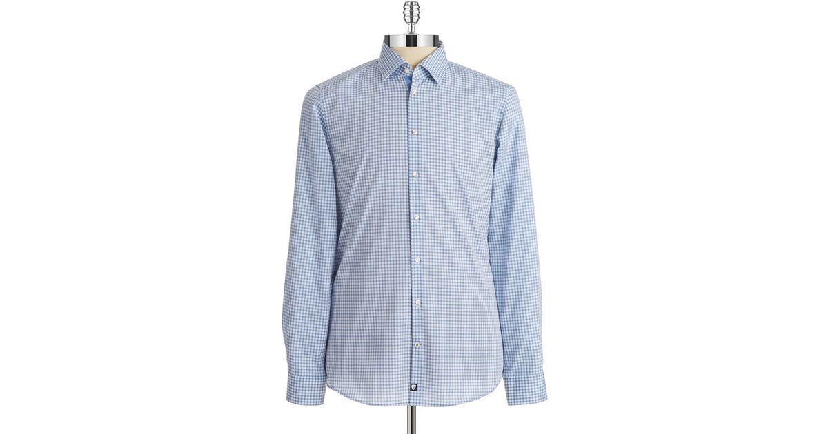 strellson slim fit plaid sportshirt in blue for men navy. Black Bedroom Furniture Sets. Home Design Ideas