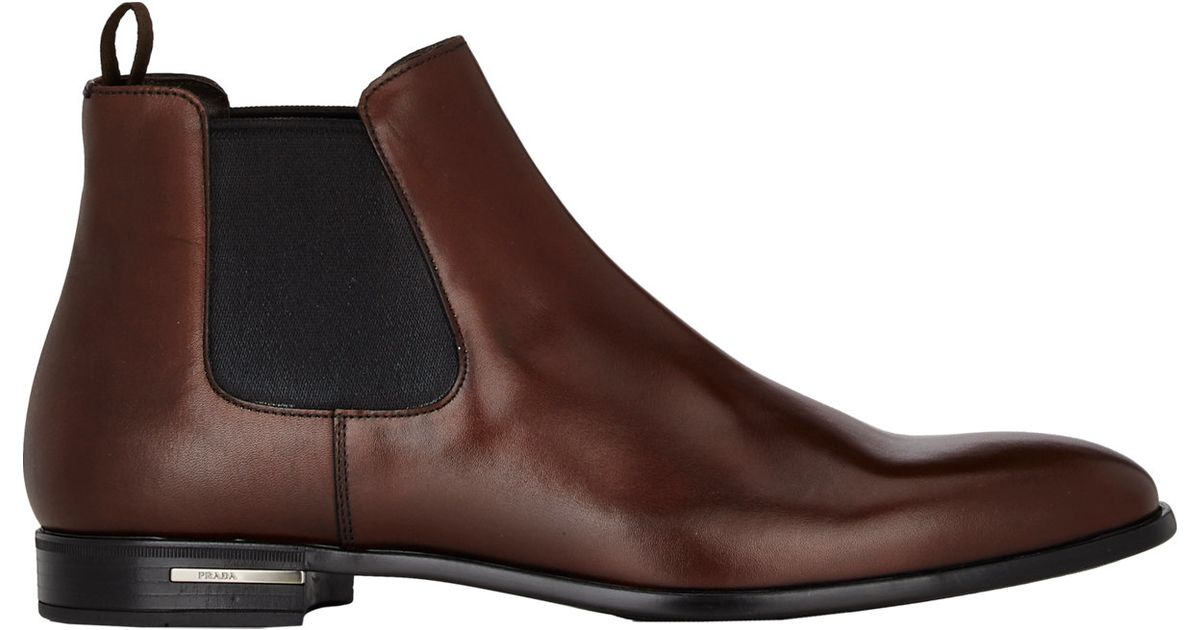 prada s leather chelsea boots in brown for lyst