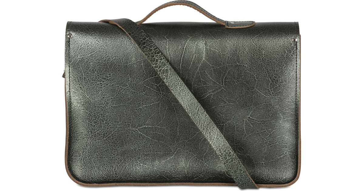 Lyst - Zatchels Laminated Grained Leather Satchel in Green 066bdd09a04