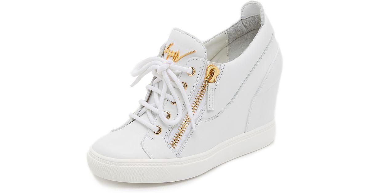 Giuseppe Zanotti Wedge Sneakers In White Lyst