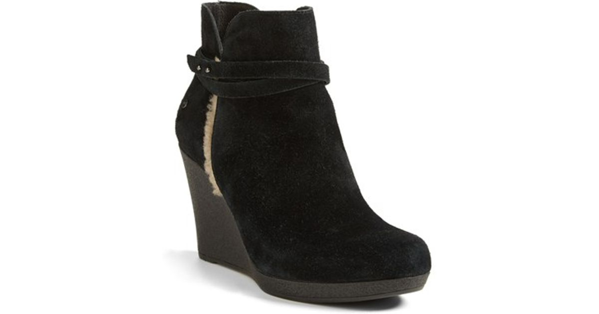 ec4de045ad4f ... purchase lyst ugg alexandra water resistant wedge bootie in black 5da05  0592d