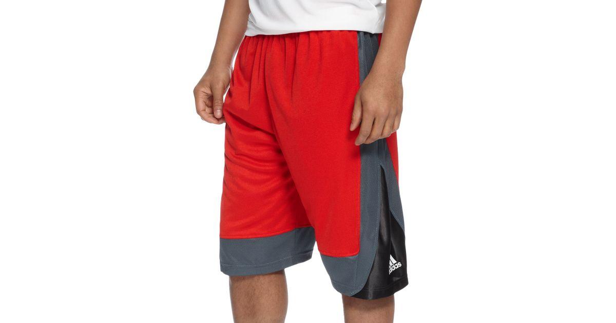 black and red adidas basketball shorts