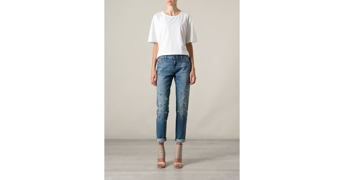 low priced d97f0 8d17b Pinko Blue Crystal Embellished Jeans