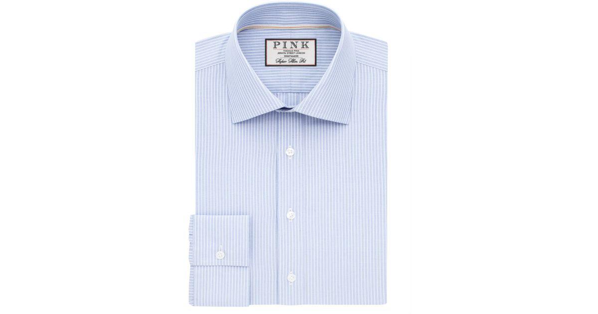 Thomas Pink Alvey Stripe Super Slim Fit Shirt In Blue For