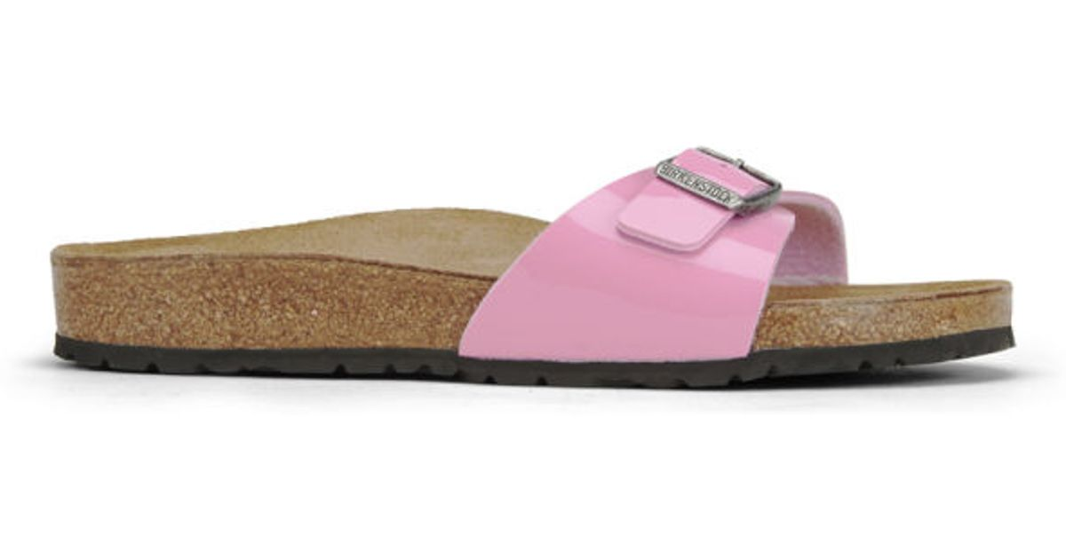 ffeb5c285935 Birkenstock Womens Madrid Single Strap Patent Leather Sandals in Pink - Lyst