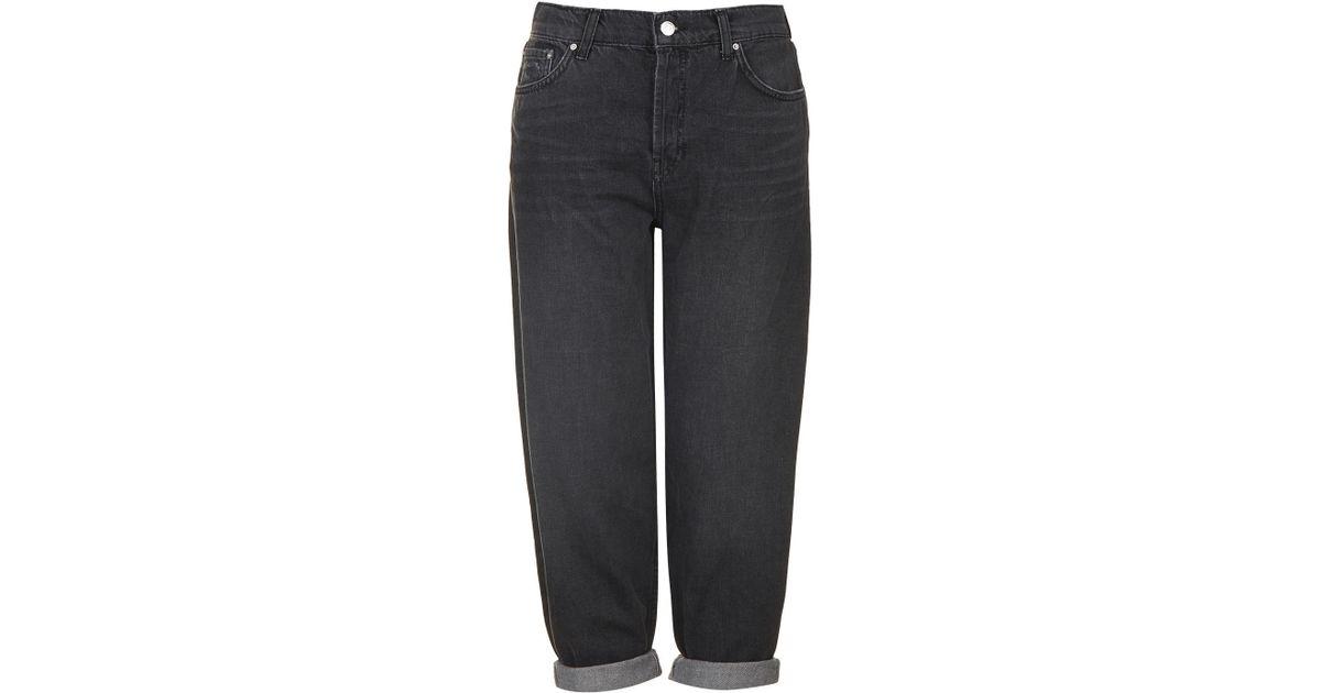 release info on online here wholesale price TOPSHOP Denim Moto Oversized Boyfriend Jeans in Washed Black ...