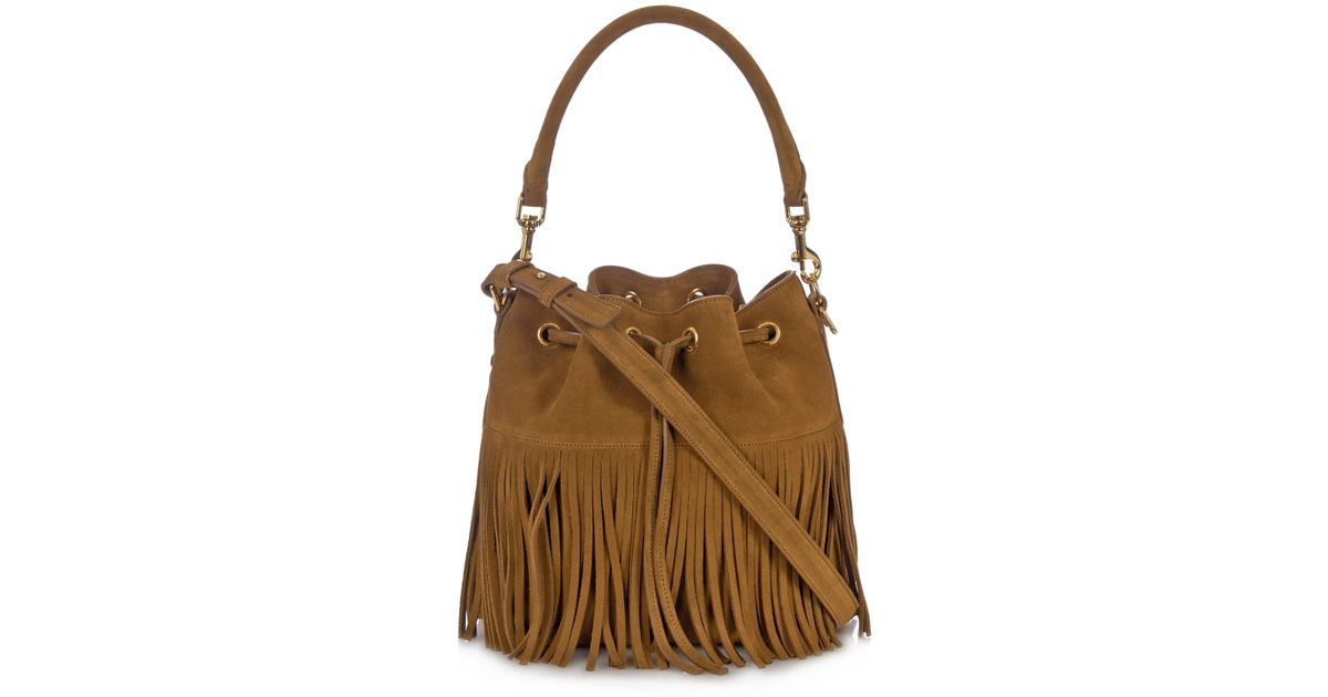12a2080d94 Lyst - Saint Laurent Emmanuelle Large Fringed-suede Cross-body Bag in Brown