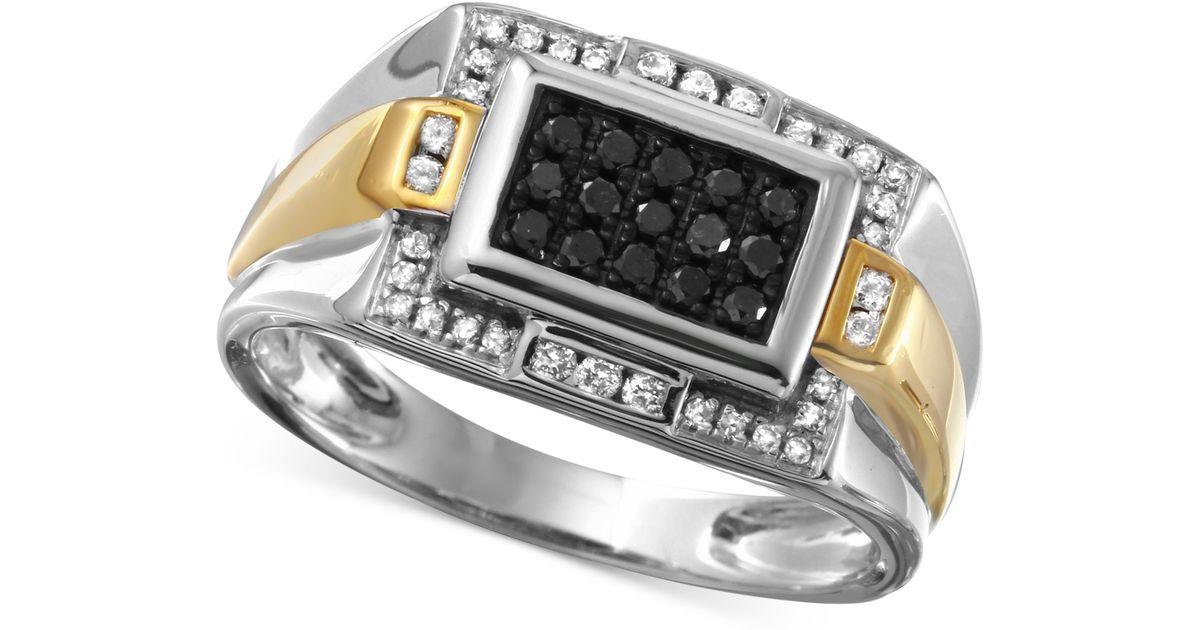 Macy s Men s Diamond Ring 3 8 Ct T w In 10k White Gold With 10k G