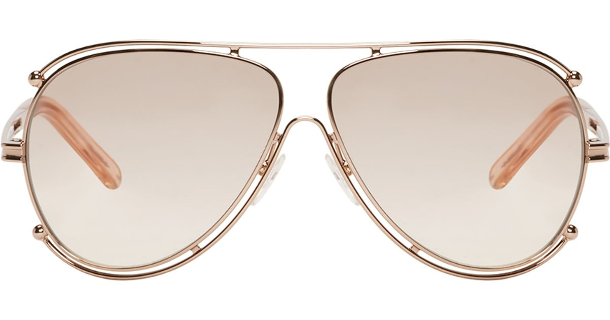 d681dbc0089e Lyst - Chloé Rose Gold Isidora Sunglasses in Pink