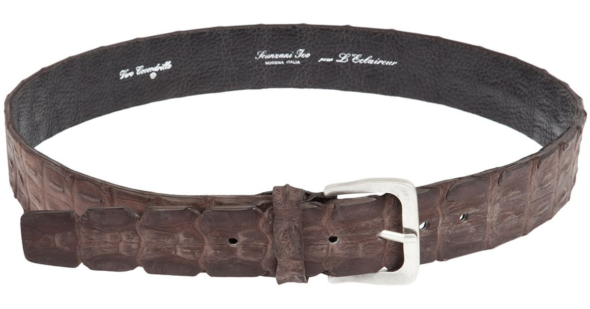 scunzani ivo crocodile leather belt in brown for lyst