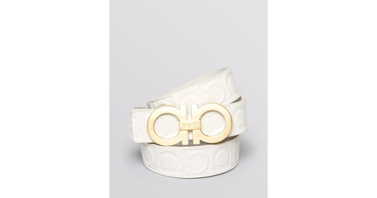 Ferragamo Stamped Gancini Gold Buckle Belt in White for ...