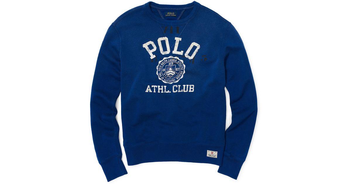 9c7d52d4a cheap lyst polo ralph lauren fleece graphic sweatshirt in blue for men  c3895 9e82a