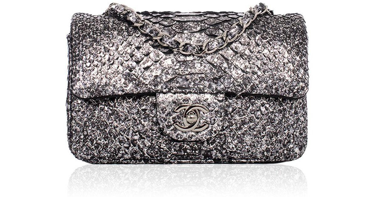 8b448054cc39 Lyst - Madison Avenue Couture Chanel Silver Python Mini Classic 2.55 Flap  Bag in Metallic