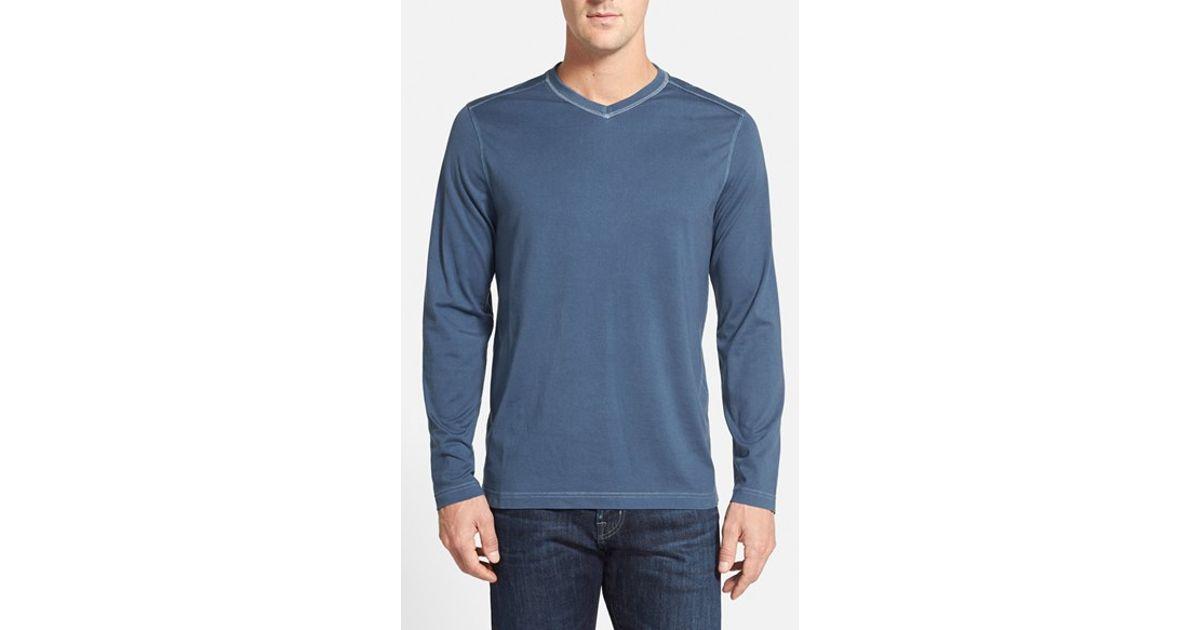 Tommy bahama 39 vacanza 39 long sleeve v neck t shirt in blue for Tommy bahama long sleeve dress shirts