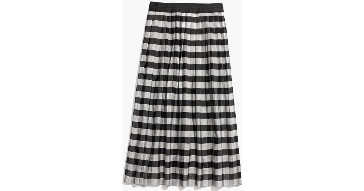 cabbfdc70ad04e Madewell Gingham Midi Skirt in Black - Lyst
