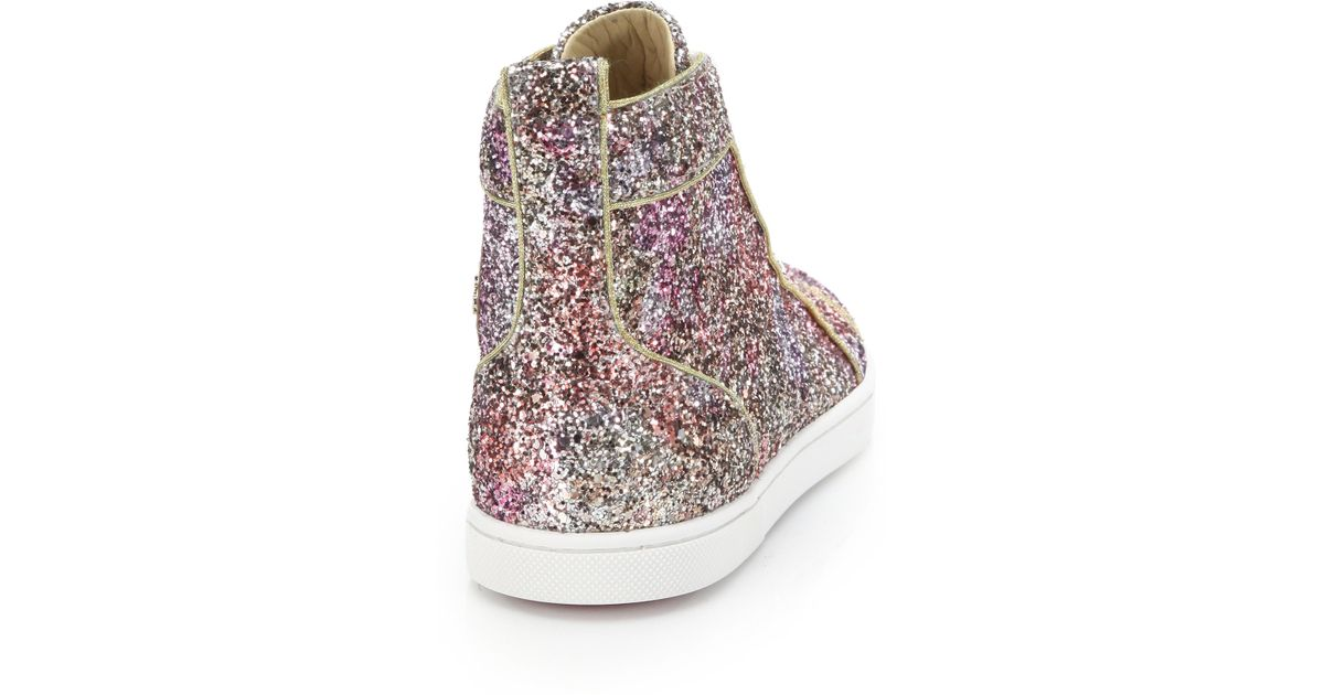 premium selection f7e2a 7064e Christian Louboutin Pink Bip Bip Glitter High-top Sneakers