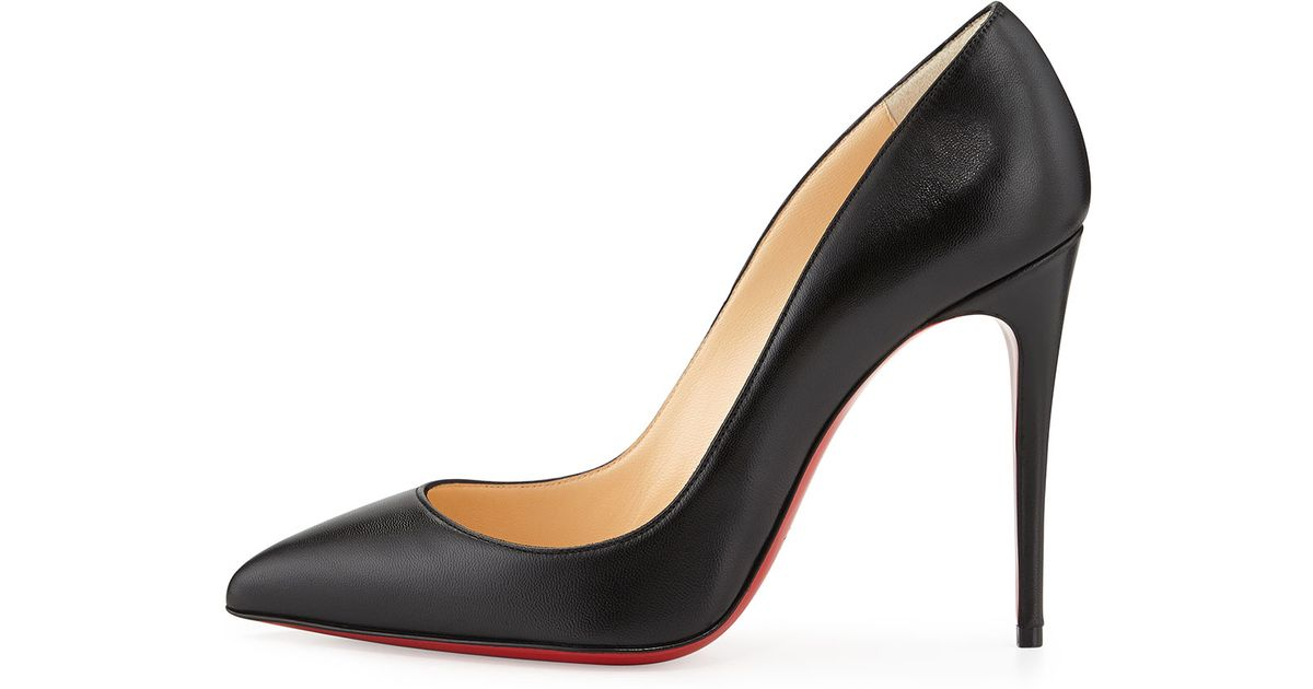 8eac178fade9 Lyst - Christian Louboutin Pigalle Follies Point-Toe Red Sole Pump in Black